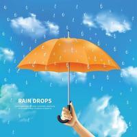 ilustração vetorial de guarda-chuva laranja em fundo de céu nublado vetor