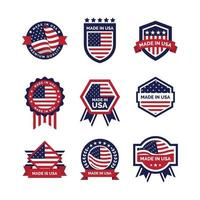 coleção de emblemas made in eua vetor