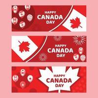 conjunto de banner do dia canadense vetor