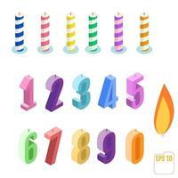 conjunto isométrico de velas de aniversário vetor