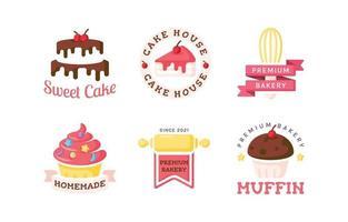 conjunto de logotipo de bolo vetor
