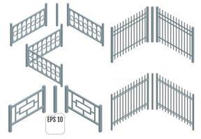 seções de cerca de metal isométrica vetor