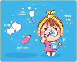 linda garota escova os dentes limpos escove os dentes ilustração da arte dos desenhos animados vetor