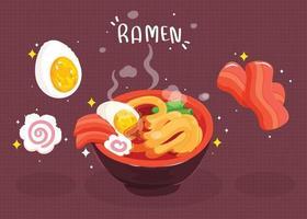 macarrão ramen comida japonesa desenhado à mão cartoon art ilustração vetor