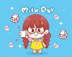 linda garota sorrindo, segurando um copo de leite na mão. vetor
