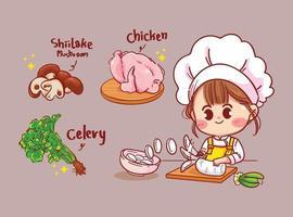 Mulher feliz fofo chef cozinhando comida na cozinha cartoon vetor