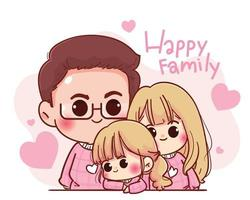 ilustração de desenho animado de personagem de família feliz vetor