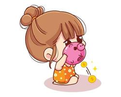 linda garota sacudindo o cofrinho cheio de dinheiro, crianças, poupança e finanças, desenho animado, illustration vetor