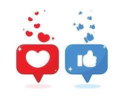 formato de coração e ícone de polegar na ilustração de mídia social vetor