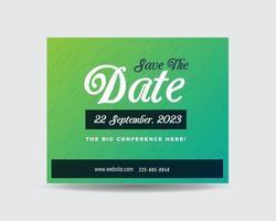 design de cartão postal corporativo ou salvar o convite de data ou mala direta vetor