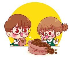 baristas fofos em aventais colher grãos de café ilustração de personagem de desenho animado vetor