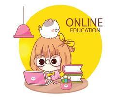 criança fofa estudando online com ilustração de desenho animado computador laptop vetor