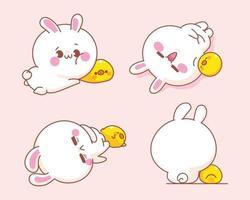 conjunto de coelho fofo com ilustração de desenho de pato vetor