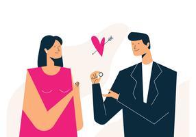 Homem oferecido anel de casamento vetor