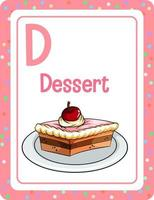 cartão do alfabeto com letra d para sobremesa vetor