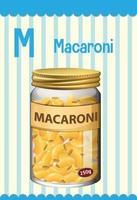 cartão do alfabeto com a letra m para macarrão vetor