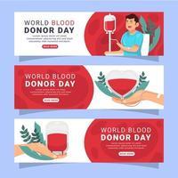 modelo de banner do dia do doador de sangue mundial vetor
