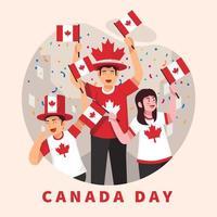 pessoas comemorando o dia do Canadá vetor