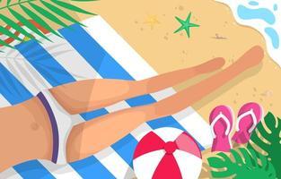 mulher tomando banho de sol na praia vetor