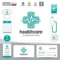 design de logotipo médico de saúde ou hospital e modelo de cartão de visita, padrão limpo e moderno vetor