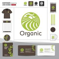 emblema orgânico e natural do vetor e modelo de design de logotipo
