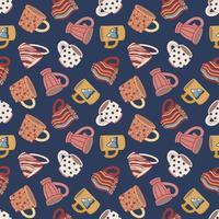 padrão sem emenda com xícaras e canecas. bonitos talheres de cerâmica. concepção de têxteis, menus, cantinas, lanchonetes, cafés e restaurantes. vetor