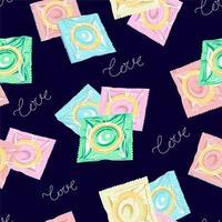 preservativo em embalagens. ilustração vetorial vetor