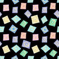 padrão sem emenda com preservativos coloridos. o conceito de sexo seguro. dia mundial da contracepção. anticoncepcionais de látex na embalagem. prevenção da aids, HIV e doenças sexualmente transmissíveis. vetor