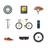 coleção de ícones de equipamentos de bicicleta vetor