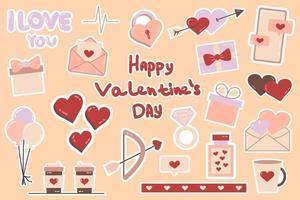 Lindos adesivos de amor, objetos românticos para planejador e organizador semanal vetor