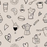 padrão de doodle de café sem costura em fundo bege vetor
