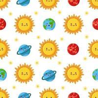 padrão sem emenda com sol bonito e planetas do sistema solar vetor