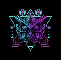 mascote geométrica de coruja com cor neon vetor