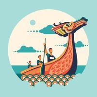 ilustração em vetor festival barco dragão chinês