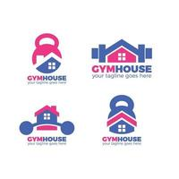 coleção minimalista de design de logotipo de casa de ginástica vetor