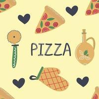 padrão sem emenda de pizza desenhada à mão, tornando os elementos ilustração plana vetor