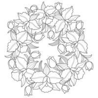 grinalda de flor de orquídea, esboço desenhado à mão para livro de colorir adulto vetor