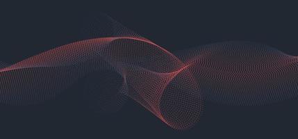 onda azul e vermelha abstrata ou linha ondulada fluindo partículas de pontos em fundo escuro vetor