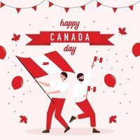 dois homens celebram o dia do Canadá vetor