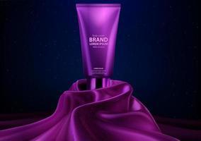 display de creme corporal realista de luxo cosmético roxo vetor