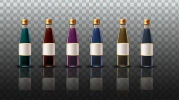 coleção de garrafas coloridas de molho de soja vetor