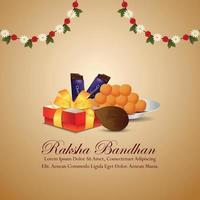 cartão comemorativo feliz raksha bandhan com presentes de vetor no fundo criativo