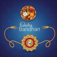 Festival indiano feliz festa raksha bandhan cartão comemorativo com ilustração vetorial vetor