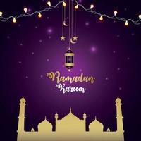 cartão convite ramadan kareem com lanterna de vetor