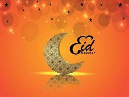 ilustração em vetor de cartão comemorativo eid mubarak com lua de padrão árabe