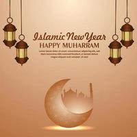 lindo ano novo islâmico com lanterna dourada e lua realistas vetor