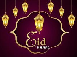 Cartão de convite do festival islâmico eid Mubarak com lanterna dourada vetor