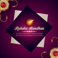 festival indiano de feliz festa raksha bandhan cartão comemorativo com cristal rakhi vetor