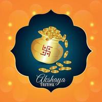 festival de promoção de venda de joias indianas akshaya tritiya com pote de moedas de ouro vetor