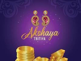 Cartaz de venda de joias indianas akshaya tritiya com kalash dourado com colar de ouro vetor